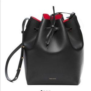Mansur Gavriel large black bucket bag red interior